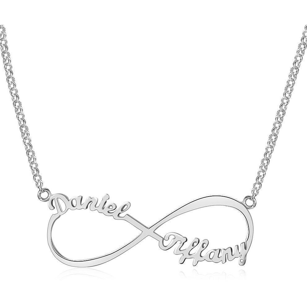 2 Name Infinity Name Necklace Sterling Silver - Think Engraved