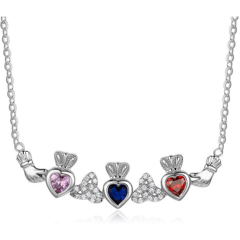 3 Stone Irish Claddaugh Loyalty Mothers Necklace - Think Engraved