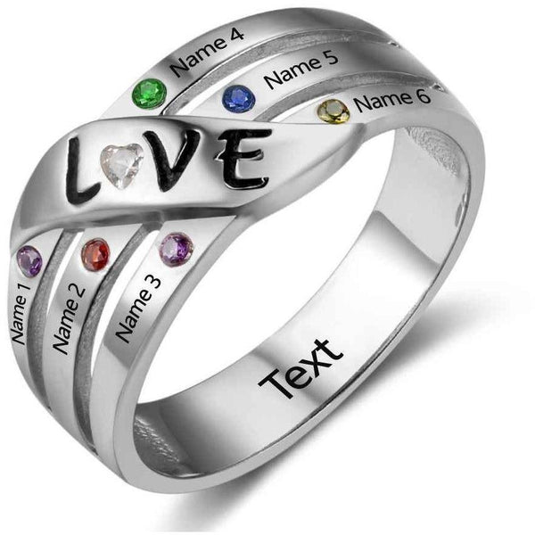 6 Stone 6 Engraved Names Mothers Love Family Ring