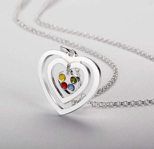 4 Stone Hearts Echo Pendant Mother's Necklace - Think Engraved