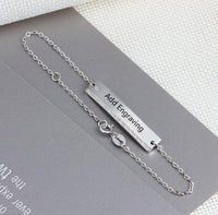 Sterling Silver Engraved Bar Bracelet