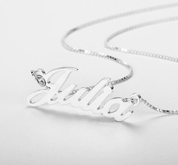 Bold Cursive Name Necklace Sterling Silver - Think Engraved