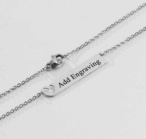 Heart Bar Personalized Engraved Name Necklace - Think Engraved