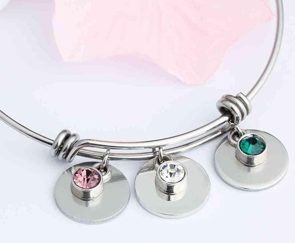 4 Stone Custom Engraved Name or Initial Charm Bracelet - Think Engraved