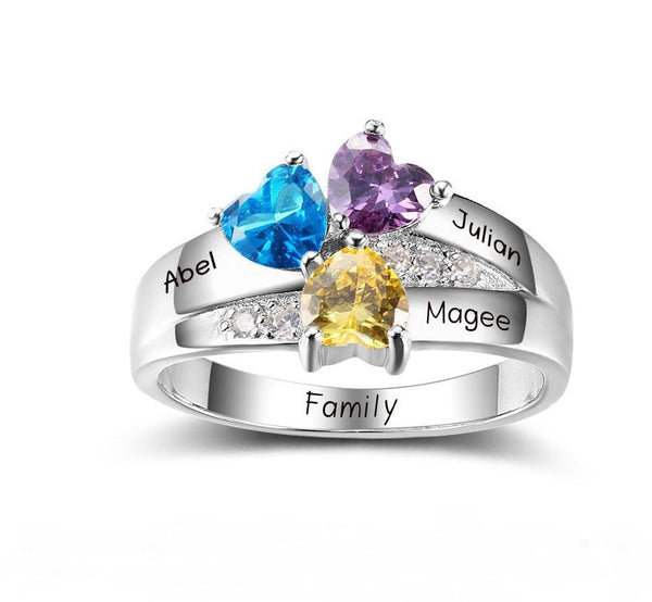 3 Stone Turned Hearts Mother's Family Ring - Think Engraved