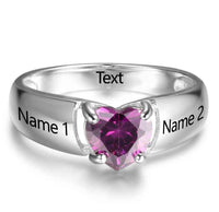 1 Stone Your Heart Mothers Ring or Promise Ring - Think Engraved