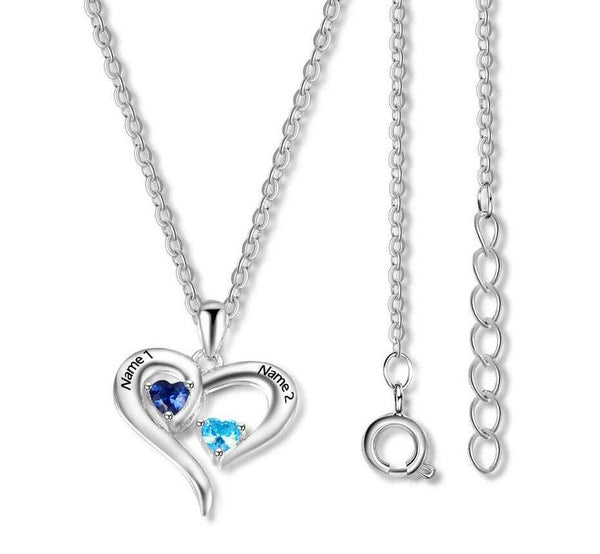 2 Stone My open Heart Mothers or Couples Necklace - Think Engraved