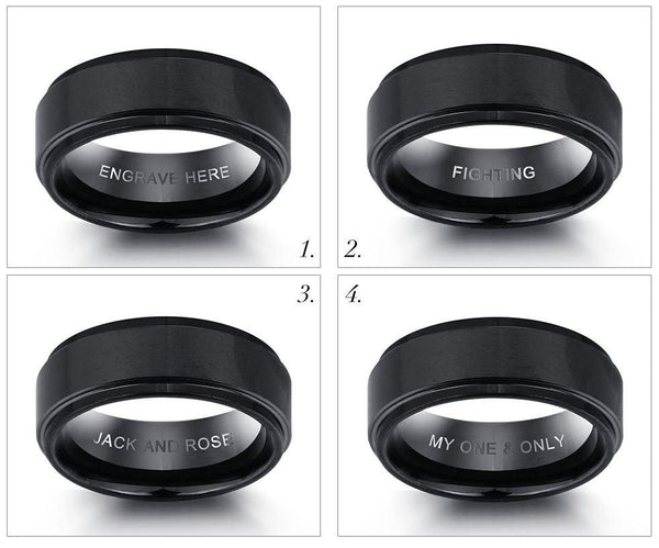 Engraved Tungsten Men's Wedding Band or Men's Promise Ring - Think Engraved