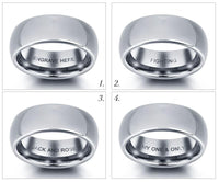 Engraved Tungsten Silver Tone Men's Wedding Band Promise Ring