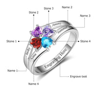 4 Stone Circled Hearts Mother's Family Ring
