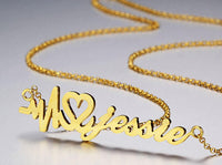 Heartbeat Name Necklace 14k Gold Plate