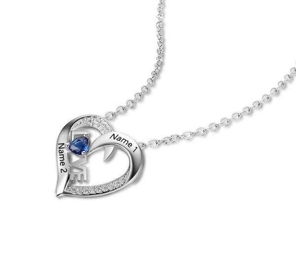 1 Stone Love Heart Mothers or Couples Necklace - Think Engraved