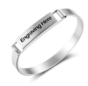Stainless Engraved Name Snap Bracelet - Think Engraved