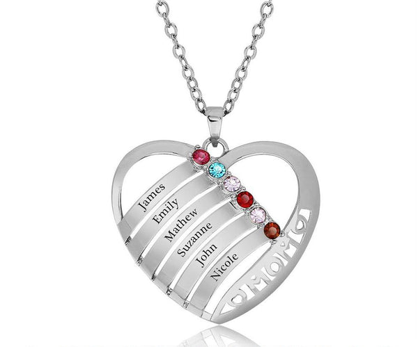 6 Stone In Mom's Heart Pendant Mother's Necklace