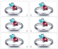 2 Stone Churning Hearts Ring Engraved Mothers Ring - Think Engraved