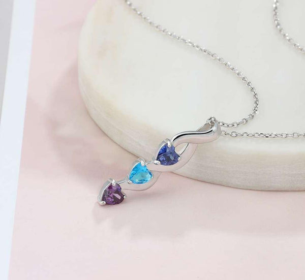 3 Stone Shooting Hearts Mothers or Couples Necklace #3 - Think Engraved