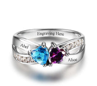 Personalized 2 Heart Birthstomes & 2 Engraved Names Ring