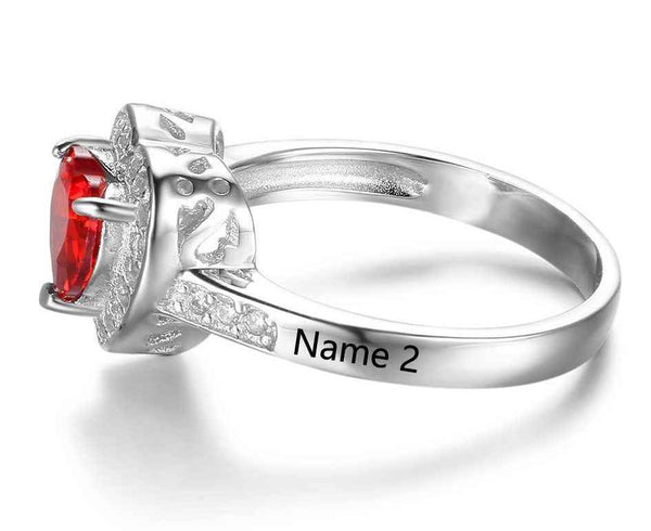 1 Stone Fairy Tale 1 Heart Stone Ring - Think Engraved
