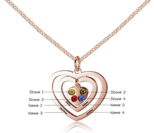 Personalized 4 Birthstone Charm Inside a 4 Engraved Names Rose Gold Plate Necklace