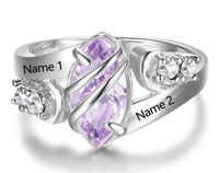 Personalized 1 Birthstone 2 Engraved Names Ring