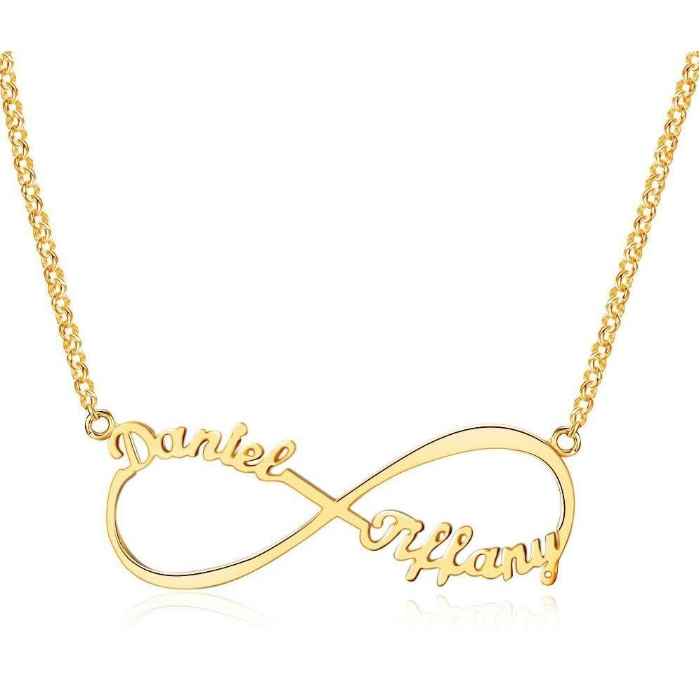 2 Name Infinity Name Necklace 14k Gold Plate - Think Engraved