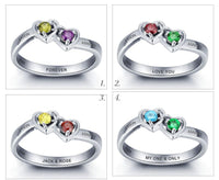 2 Stone Enclosed Hearts Mothers Ring or Promise Ring - Think Engraved