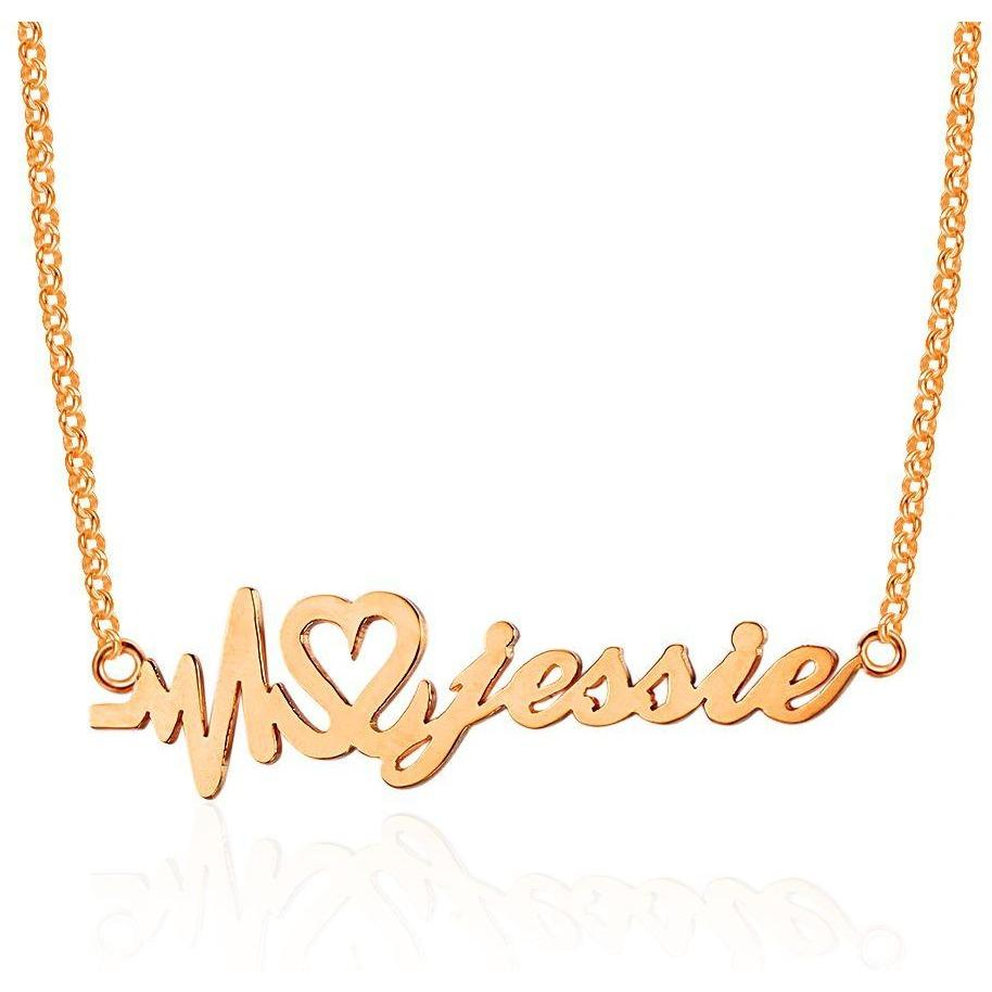 Heartbeat Name Necklace 14k Rose Gold Plate - Think Engraved