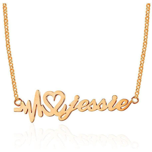 Heartbeat Name Necklace 14k Rose Gold Plate
