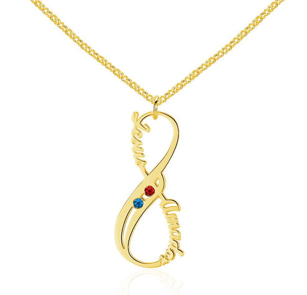 2 Stone Vertical Infinity Gold Plate Pendant Necklace