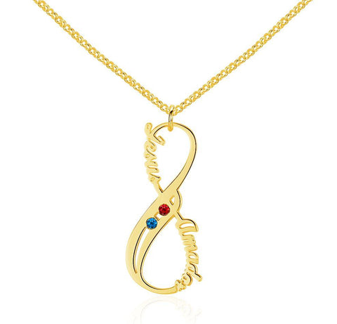2 Stone Vertical Infinity Gold Plate Pendant Necklace - Think Engraved