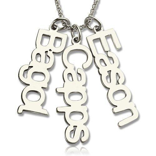 3 Cutout Name Charms Necklace - Think Engraved