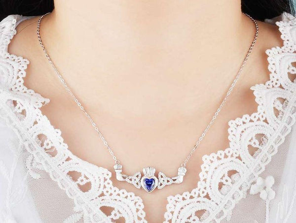 1 Stone Irish Claddaugh Loyalty Birthstone Necklace - Think Engraved