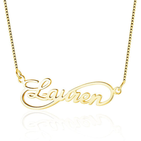 Cursive Infinity Loop Name Necklace 14k Gold Plate - Think Engraved