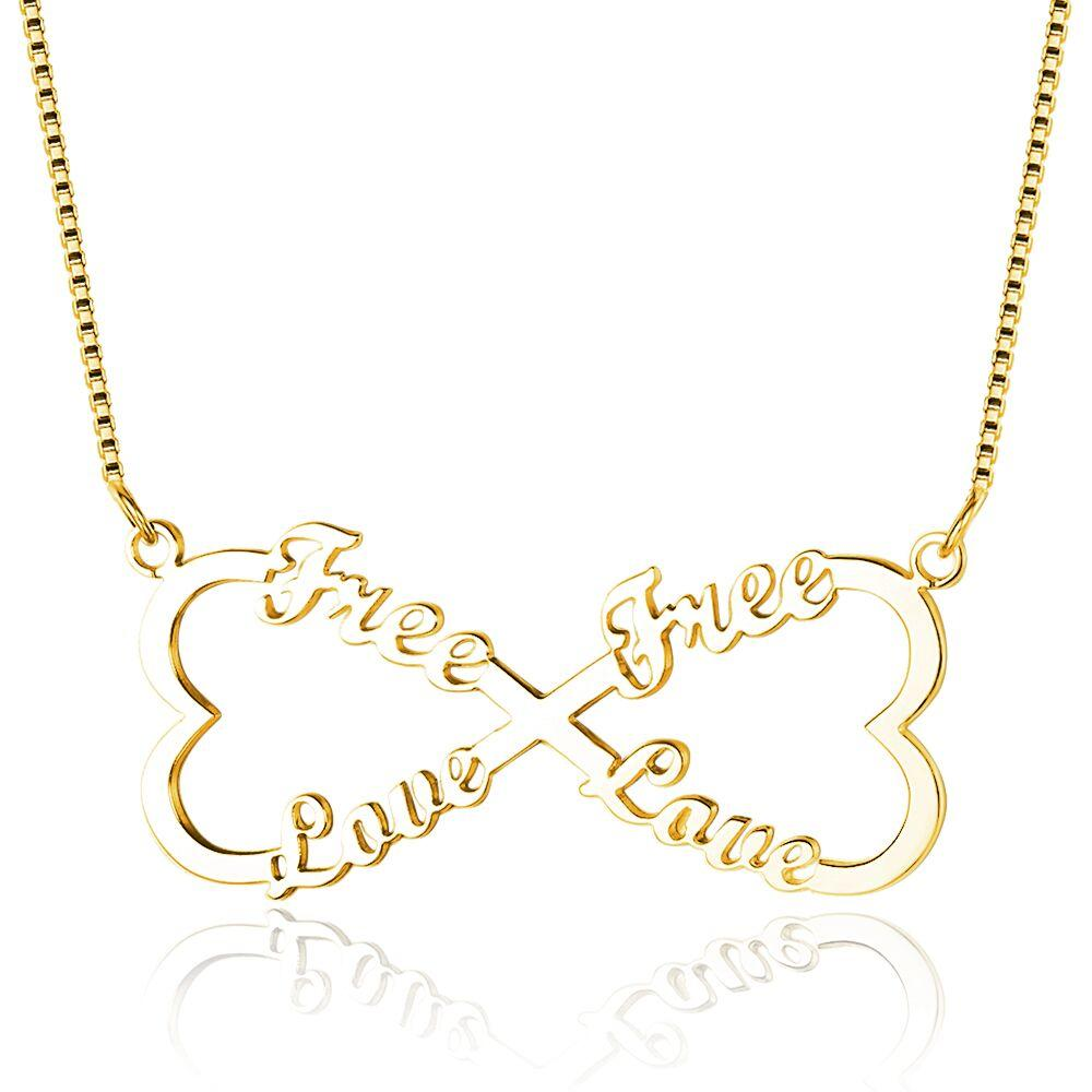 4 Name Infinity Heart Bow Gold Name Necklace - Think Engraved