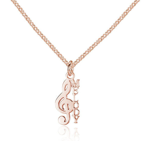 Music Note Treble Clef 14k Rose Gold Name Necklace - Think Engraved