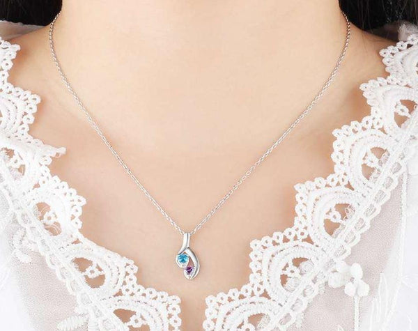 2 Heart Stone Hanging Hearts Pendant Necklace - Think Engraved