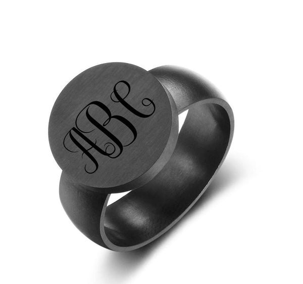 Personalized Black 3 Initial Engraved Monogram Ring