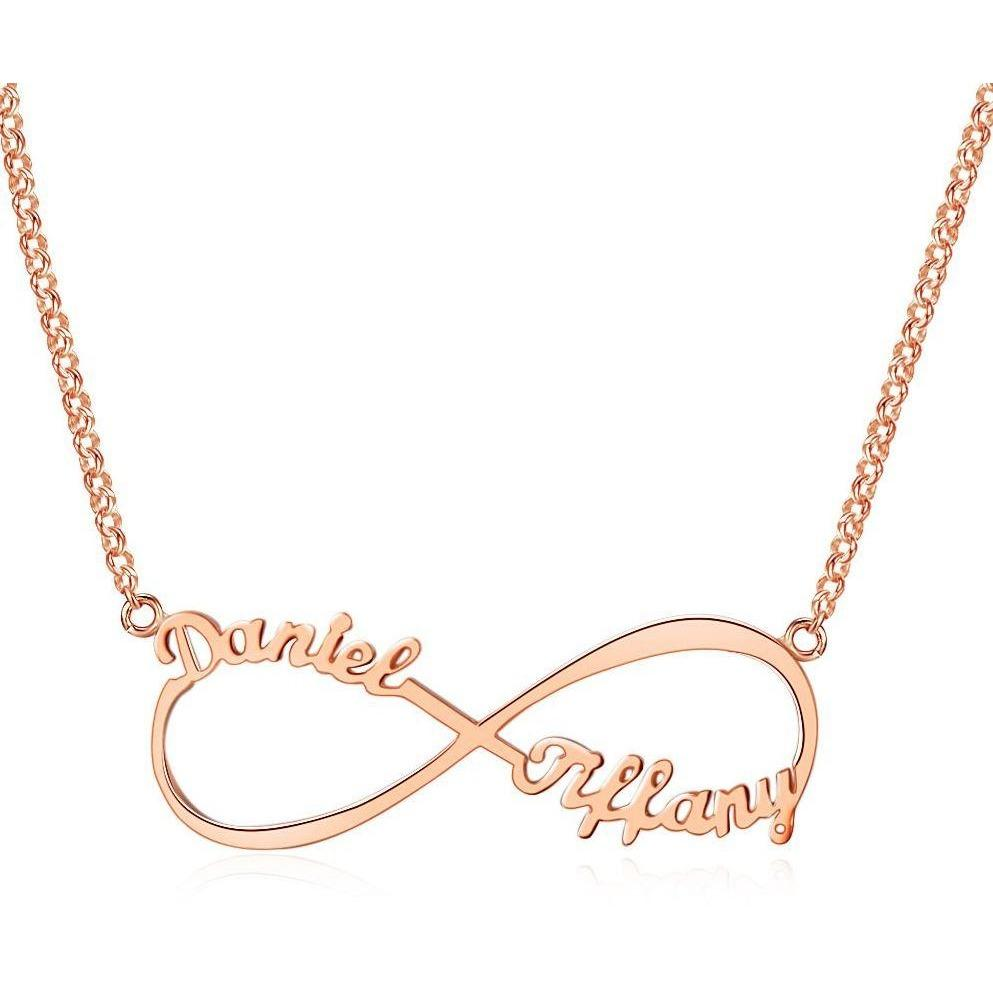 2 Name  Infinity Name Necklace 14k Rose Gold Plate - Think Engraved