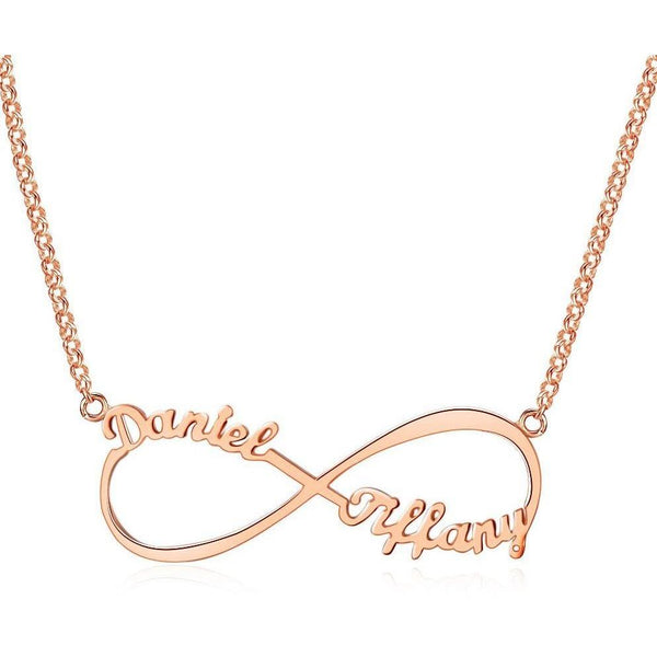 2 Name  Infinity Name Necklace 14k Rose Gold Plate