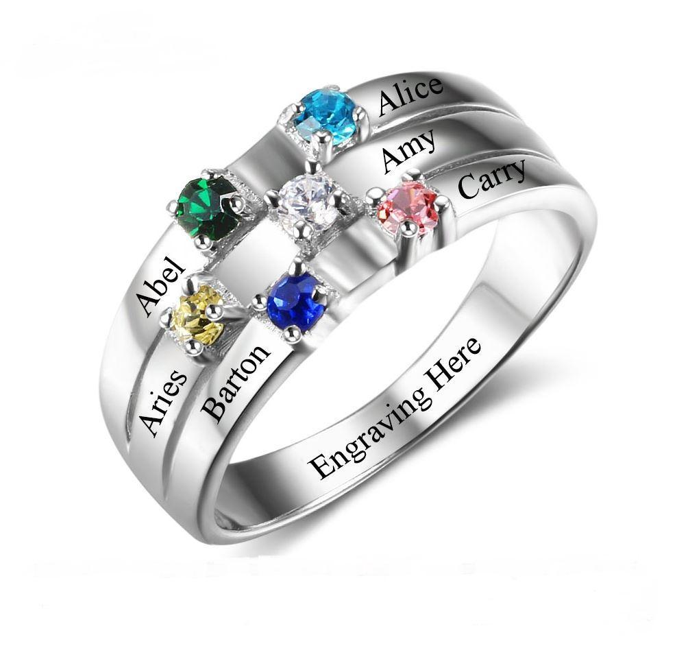 Mother's Ring 6 Stone 6 Names 2 Hearts Design - Think Engraved