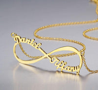 2 Name Infinity Name Necklace 14k Gold Plate