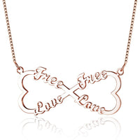 4 Name Infinity Heart Bow Rose Gold Name Necklace