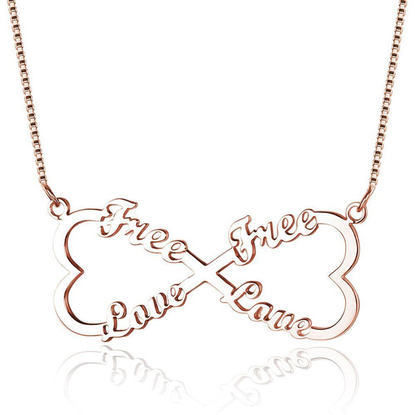 4 Name Infinity Heart Bow Rose Gold Name Necklace - Think Engraved
