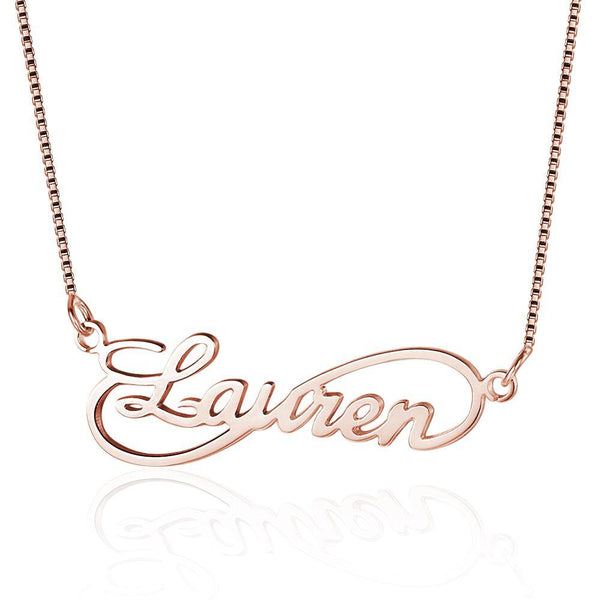 Cursive Infinity Loop Name Necklace 14k Rose Gold Plate
