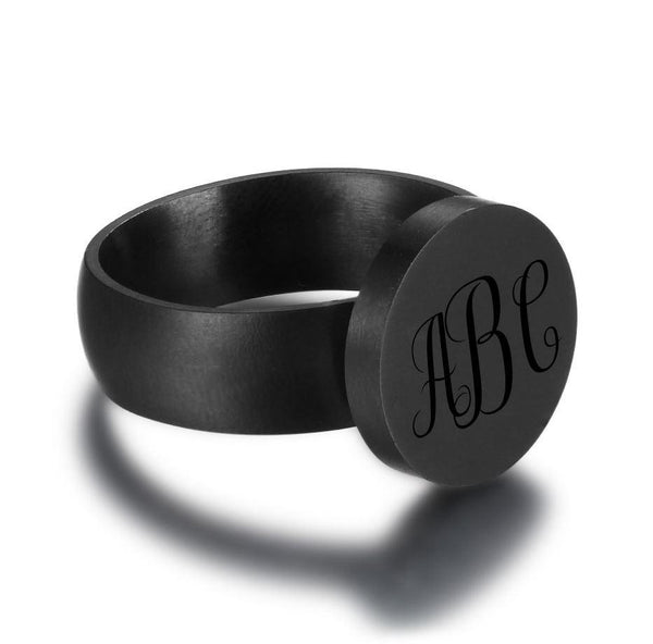 Personalized Black 3 Initial Engraved Monogram Ring - Think Engraved