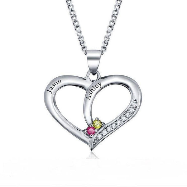 2 Stone True Hearts Mothers or Couples Necklace - Think Engraved