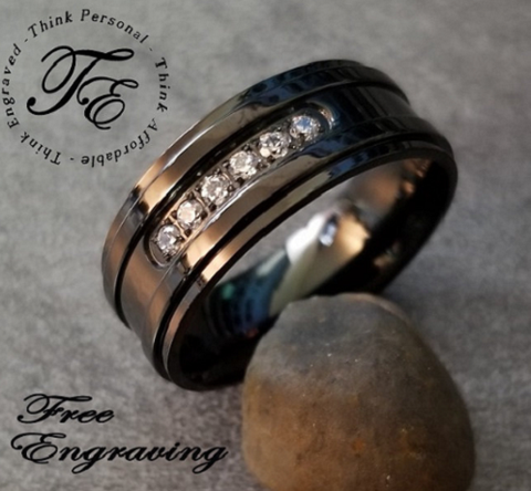 Engraved Men's Promise Ring Black with gems Wedding Band - Think Engraved
