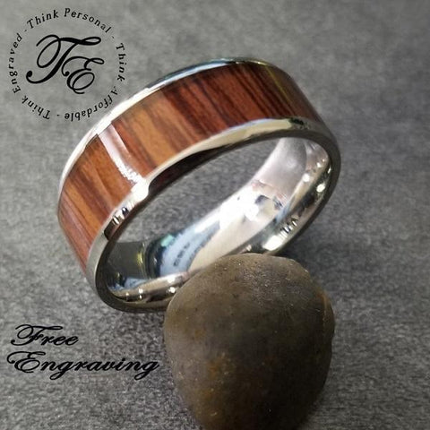 Engraved Wood Inlay Men's Promise Ring Band 8MM - Think Engraved