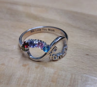 5 Stone Family Infinity Mother's Ring - Think Engraved