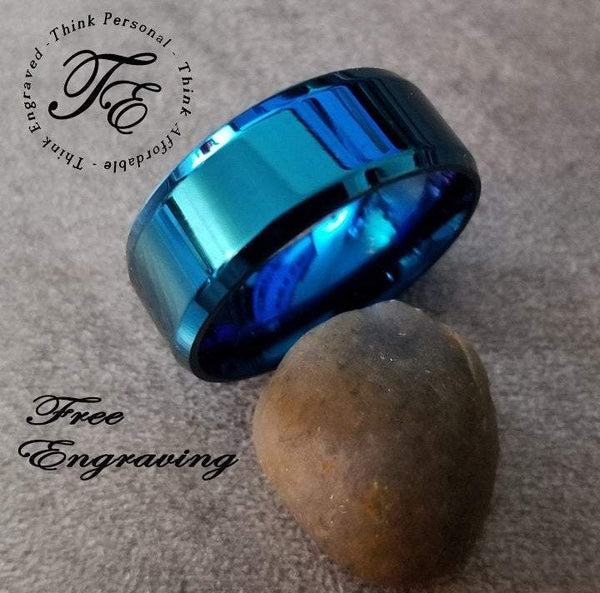 Engraved Blue Beveled Men's Promise Ring Band 8MM - Think Engraved